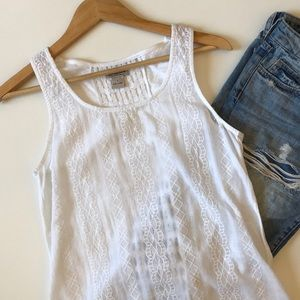 LUCKY BRAND white embroidered tank